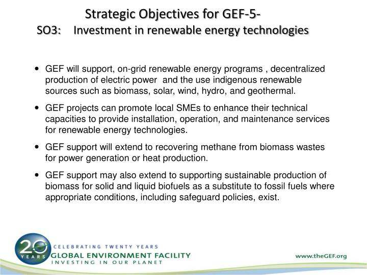Strategic Objectives for GEF-5-