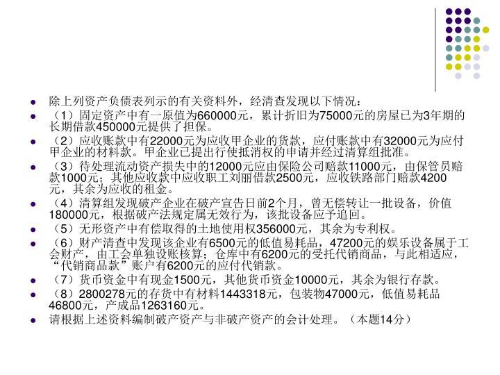 除上列资产负债表列示的有关资料外,经清查发现以下情况:
