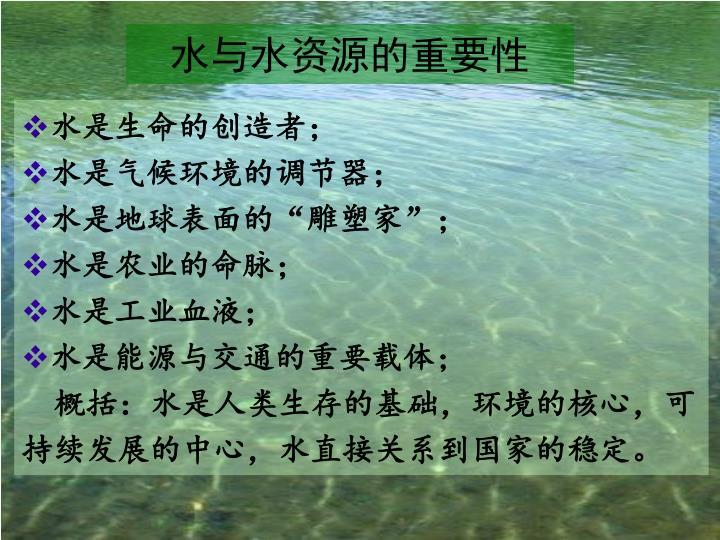 水与水资源的重要性