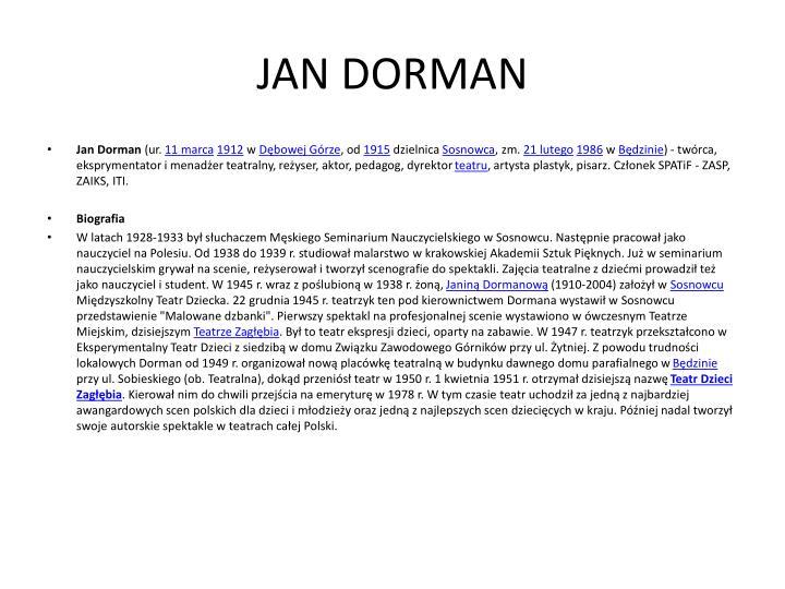 JAN DORMAN