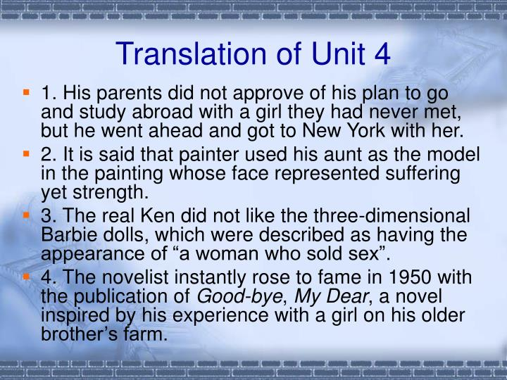 Translation of unit 4