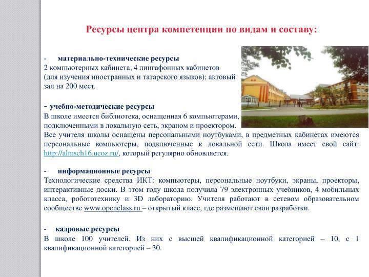 Ресурсы центра компетенции по видам и составу: