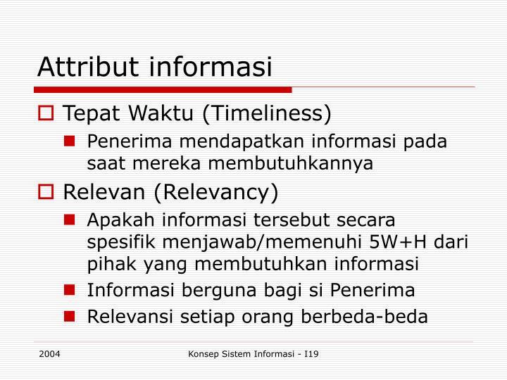 Attribut informasi