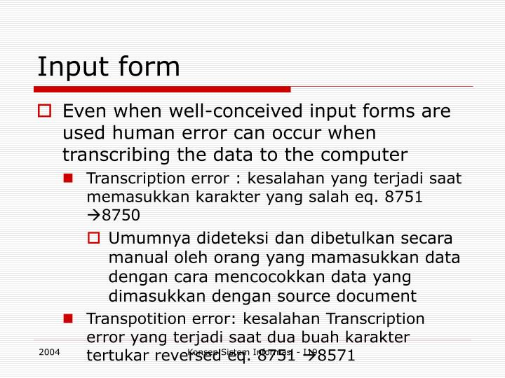 Input form