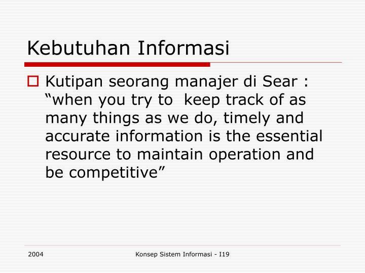 Kebutuhan Informasi