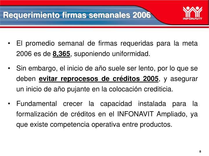 Requerimiento firmas semanales 2006
