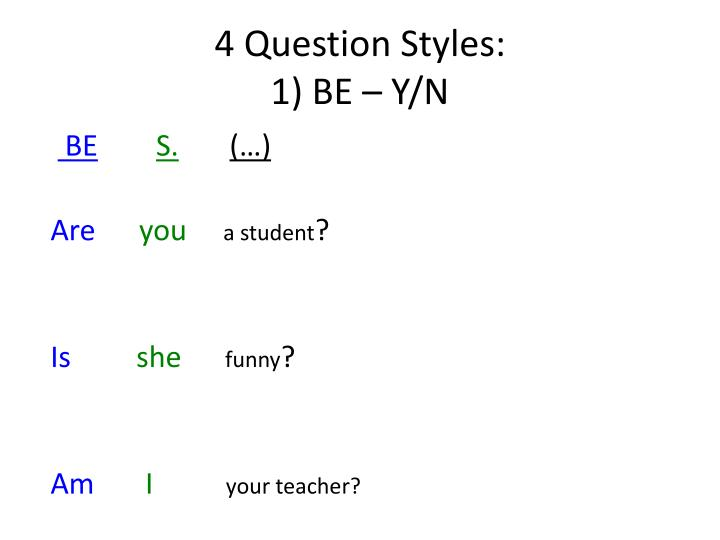 4 Question Styles: