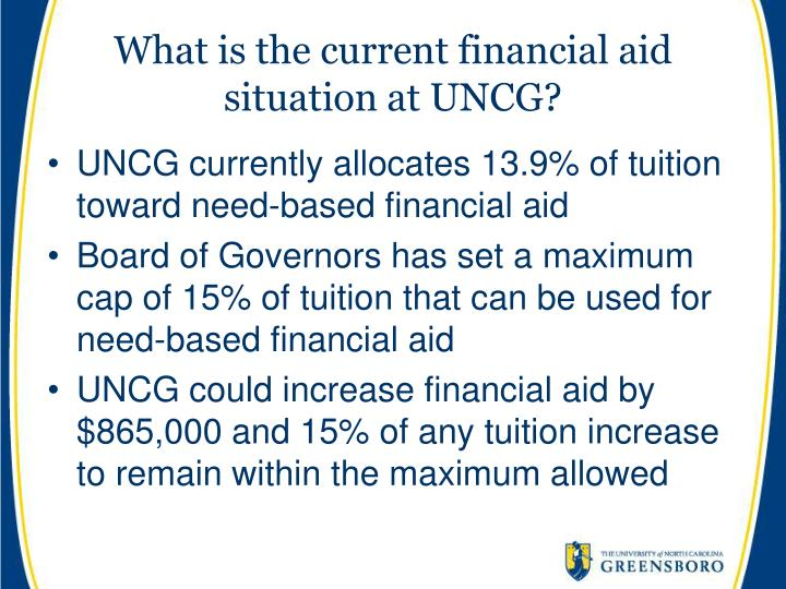 What is the current financial aid situation at UNCG?