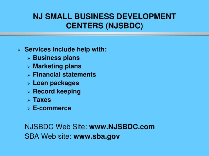 NJ SMALL BUSINESS DEVELOPMENT CENTERS (NJSBDC)