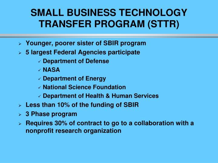 SMALL BUSINESS TECHNOLOGY TRANSFER PROGRAM (STTR)