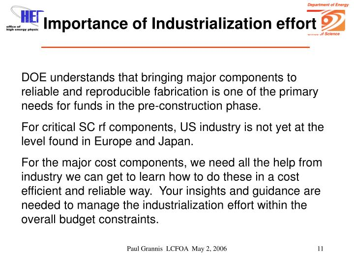 Importance of Industrialization effort