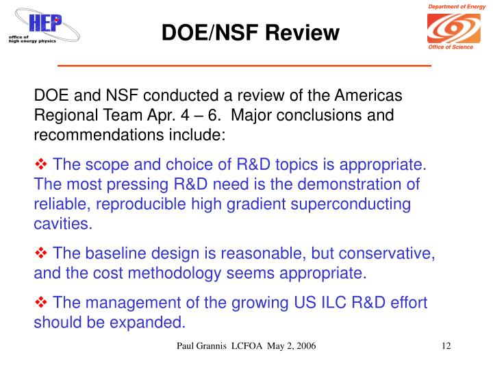 DOE/NSF Review