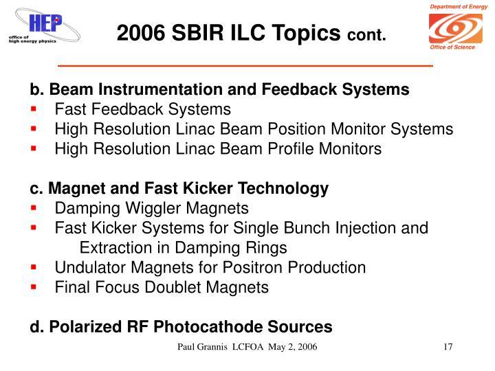 2006 SBIR ILC Topics