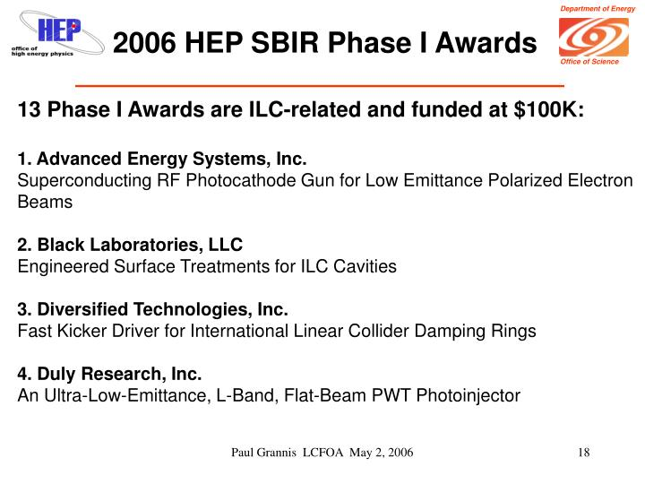 2006 HEP SBIR Phase I Awards