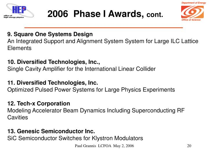 2006  Phase I Awards,