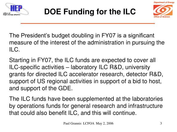 DOE Funding for the ILC