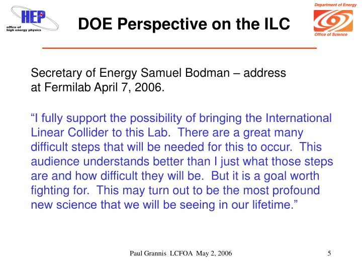 DOE Perspective on the ILC