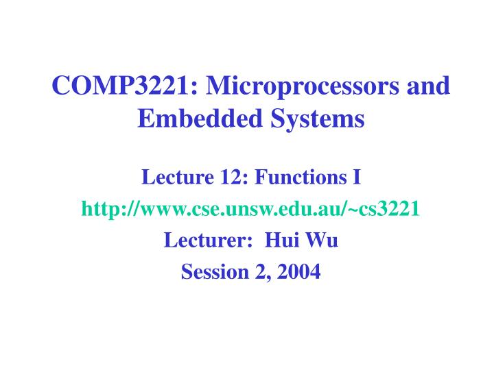 Comp3221 microprocessors and embedded systems