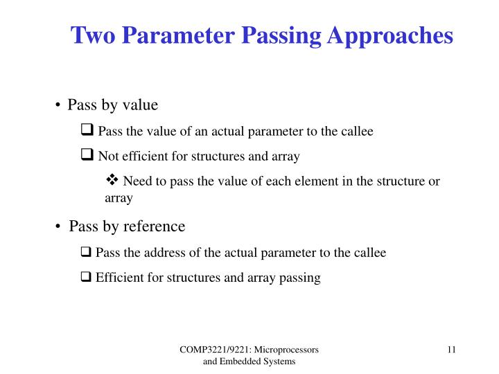 Two Parameter Passing Approaches