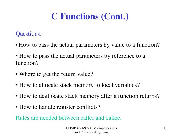 C Functions (Cont.)