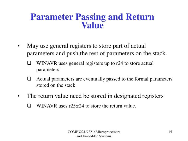 Parameter Passing and Return Value