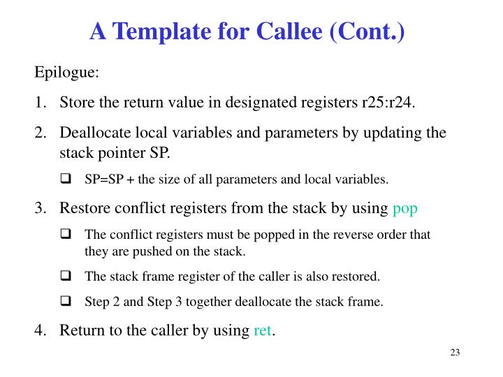 A Template for Callee (Cont.)