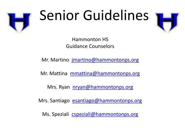 Senior Guidelines