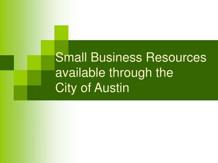 Small business resources available through the city of austin