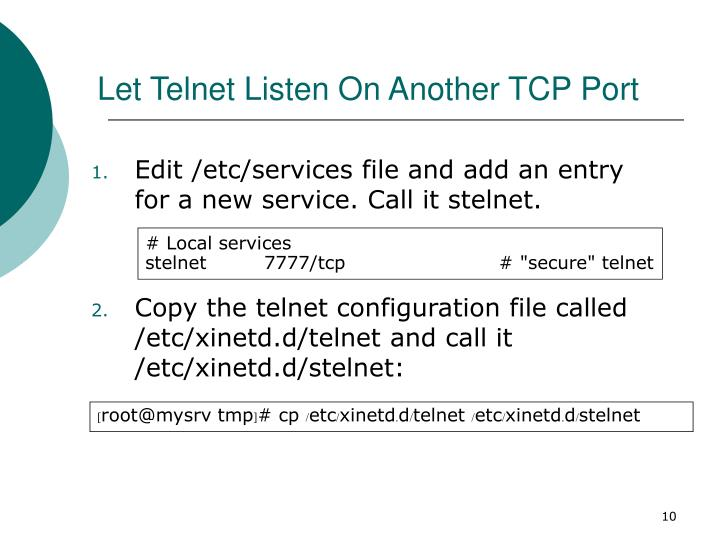Let Telnet Listen On Another TCP Port