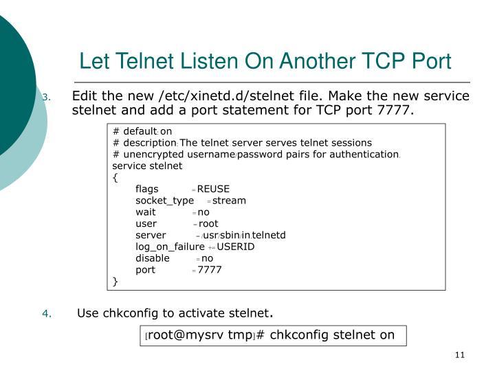Let Telnet Listen On Another TCP Port