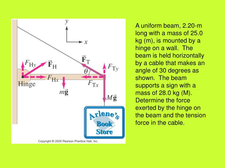 A uniform beam, 2.20-m long with a mass of 25.0 kg (m), is mounted by a hinge on a wall.  The beam is held horizontally by a cable that makes an angle of 30 degrees as shown.  The beam supports a sign with a mass of 28.0 kg (M).  Determine the force exerted by the hinge on the beam and the tension force in the cable.