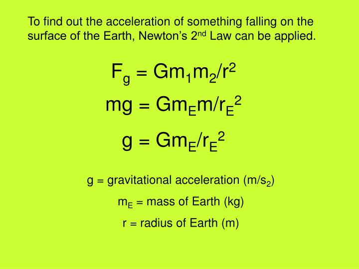 To find out the acceleration of something falling on the surface of the Earth, Newton's 2