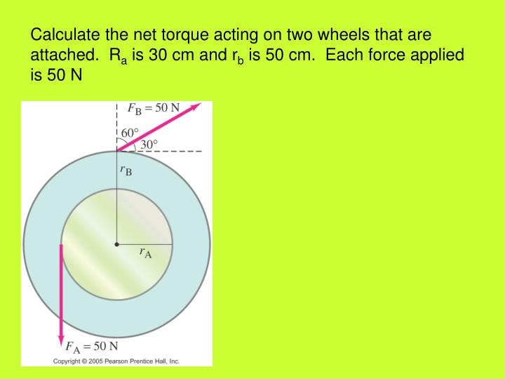 Calculate the net torque acting on two wheels that are attached.  R