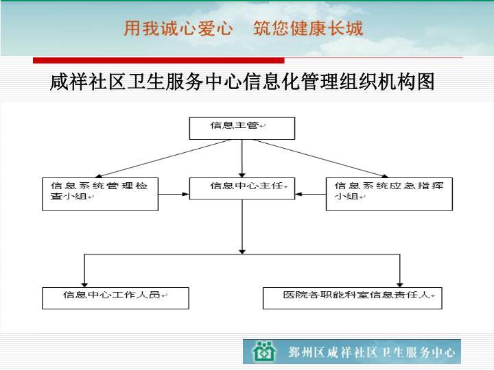 咸祥社区卫生服务中心信息化管理组织机构图