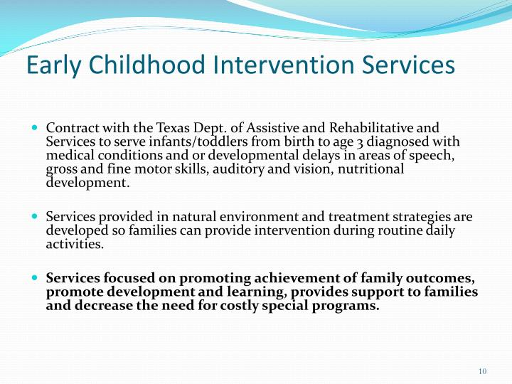 Early Childhood Intervention Services
