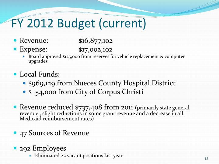FY 2012 Budget (current)