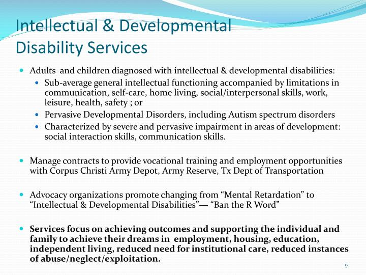 Intellectual & Developmental