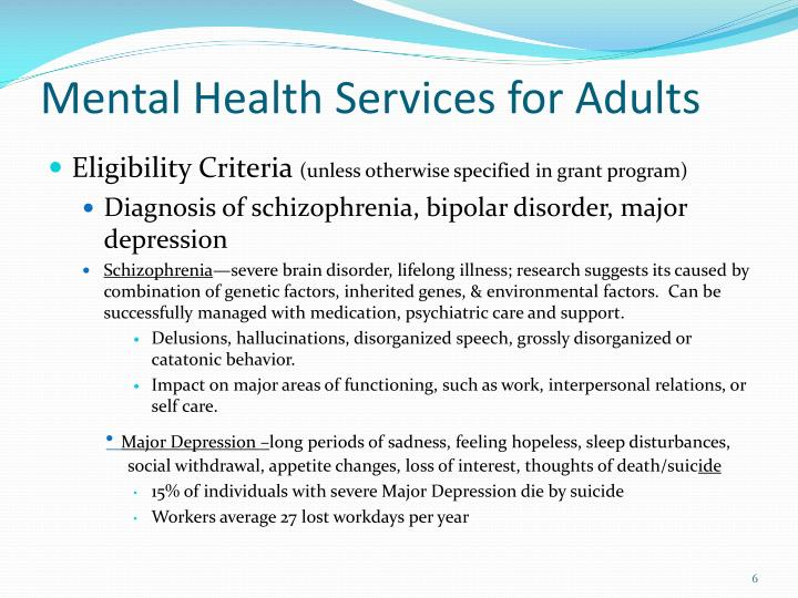 Mental Health Services for Adults