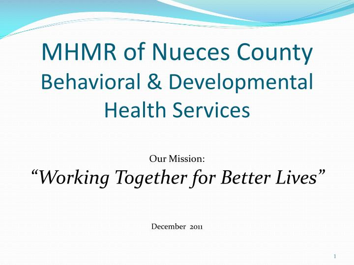 Mhmr of nueces county behavioral developmental health services