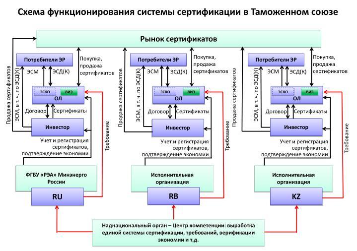 Схема функционирования системы сертификации в Таможенном союзе