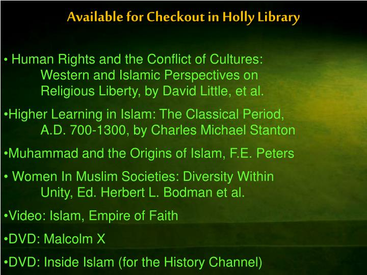 Available for Checkout in Holly Library