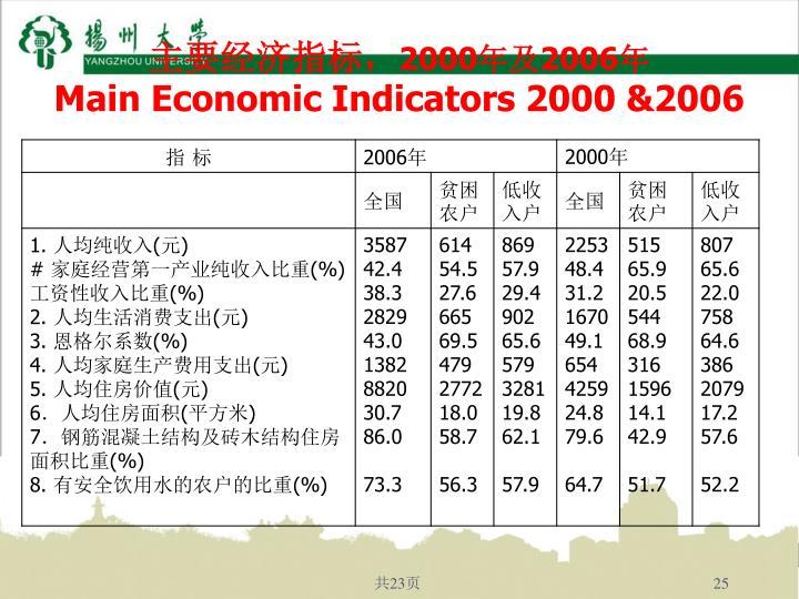 主要经济指标,