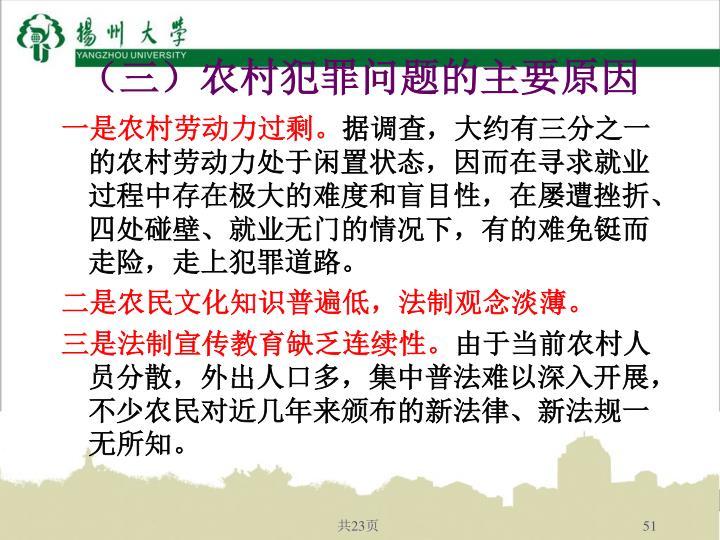 (三)农村犯罪问题的主要原因