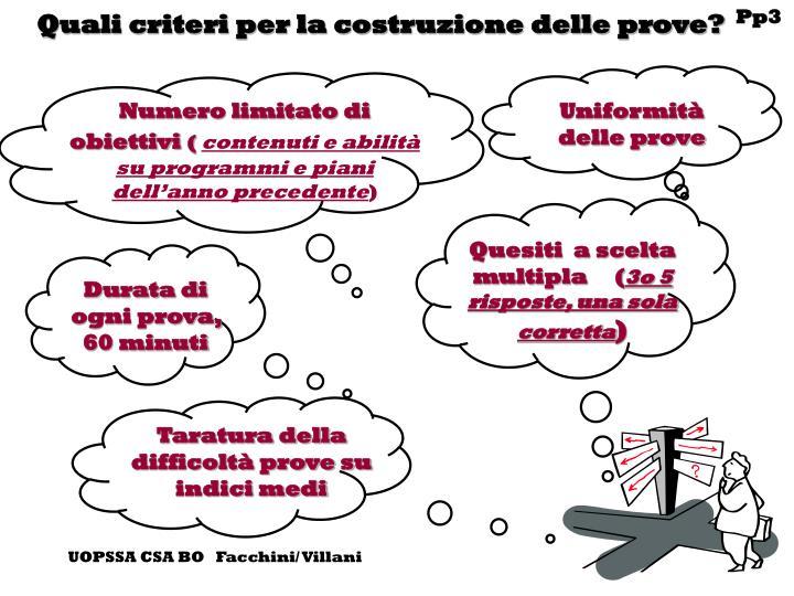 Quali criteri per la costruzione delle prove?
