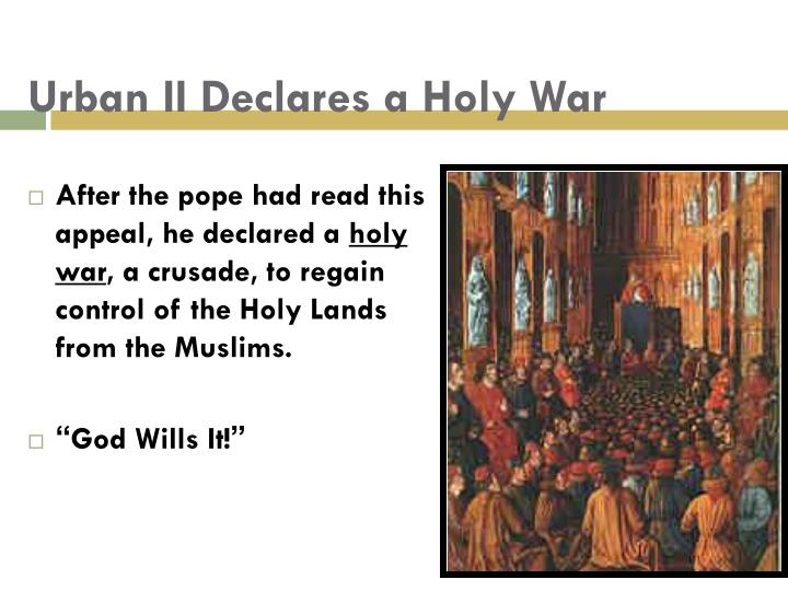 pope urban iis plea to join him in a holy war Pope urban ii launched the crusade movement with his call to arms at the council of clermont learn more about him in this article.