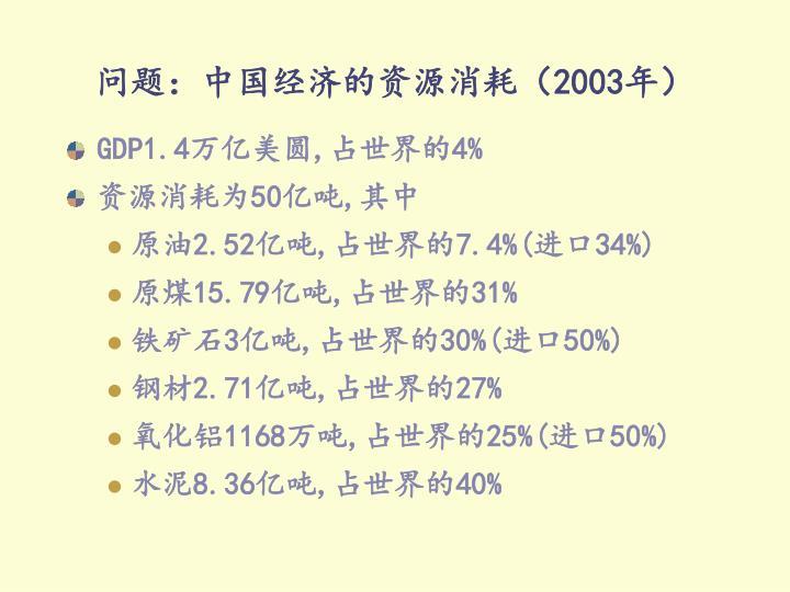 问题:中国经济的资源消耗(2003年)