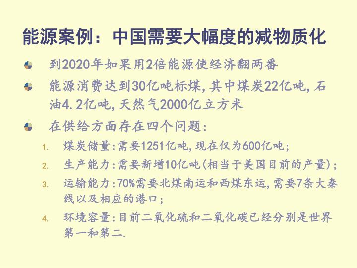 能源案例:中国需要大幅度的减物质化