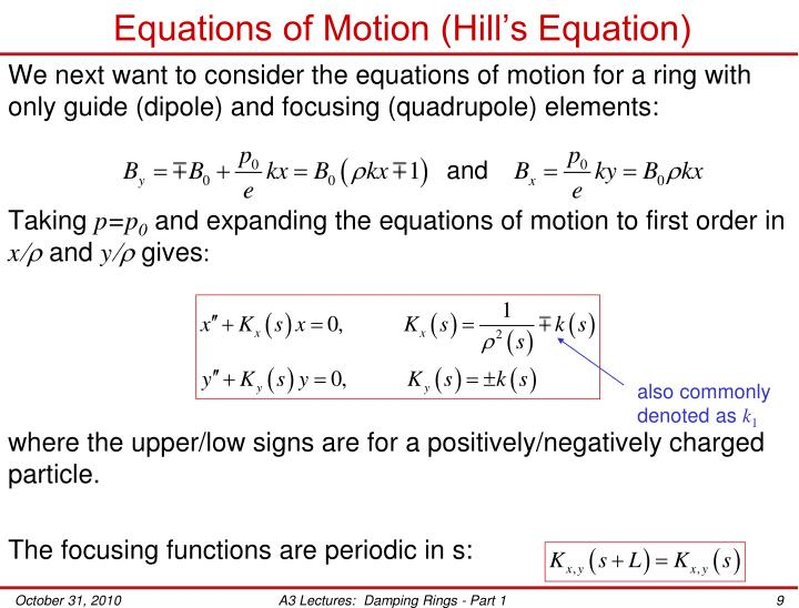Equations of Motion (Hill's Equation)