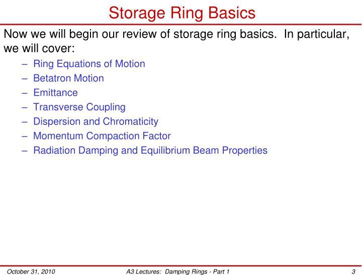 Storage Ring Basics