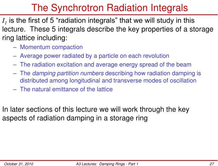 The Synchrotron Radiation Integrals
